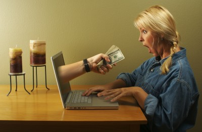 Woman being offered money aggressively online